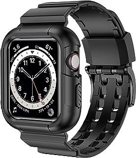 iiteeology 兼容 Apple Watch 表帶 44 毫米 42 毫米表殼,堅固保護 iWatch 表殼帶運動表帶,適用于 Apple Watch SE 系列 6/5/4/3/2/1(44毫米/42毫米黑色)