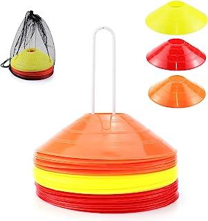 MR.FOAM Pro 圆盘圆锥,30 个敏捷足球锥运动带便携包和支架,适合儿童训练足球篮球和游戏场圆锥标记,包括 10 个红色 10 个黄色和 10 个橙色锥