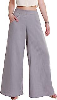 女式长款阔腿裤带口袋,*棉办公休闲裤