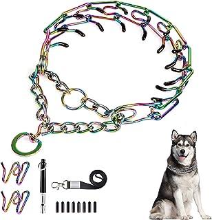 Ivienx 狗爪牵引项圈,犬用颈链 [2 个额外链子] [狗口哨] [彩色] 带马丁酸链和橡胶盖,无拉狗项圈适用于中大型犬 [XL 码]
