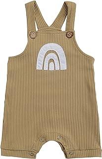 男婴女孩背带裤婴儿吊带连身衣彩虹连身衣背带裤幼儿整体短裤夏季服装