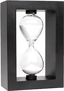 Sunmid Wooden Sandglass 沙钟 计时器 热卖圣诞节礼物 彩色 10 分钟手动吹制沙漏倒计时家庭装饰圣诞玩具毕业礼物(白色)