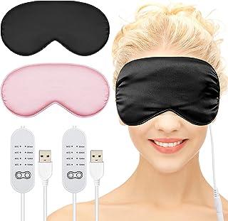 2 件丝质加热眼罩 适用于干眼 USB 蒸汽热敷 适用于蓬松* 可调节温度 *眼罩 适用于干眼、黑斑*、样式、粉色*、黑色和粉色