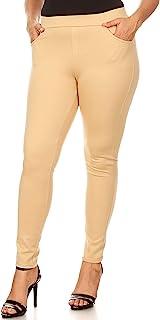 Yelete 加大码针织修身 4 口袋 Ponte 长裤
