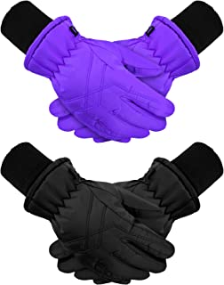 2 双儿童冬季手套防水滑雪手套儿童雪地保暖手套连指手套
