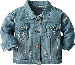 Wofupowga 儿童牛仔夹克系扣外套 适合男孩女孩
