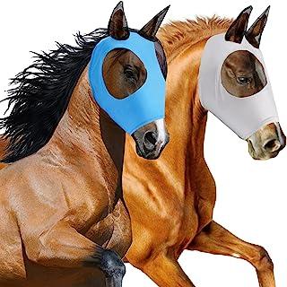 2 件马飞面罩 耳朵光滑弹性飞翔面罩 防紫外线(灰色、蓝色)