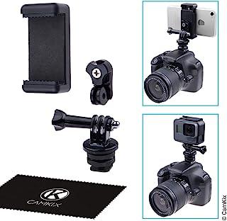 热靴安装适配器套件 - 将手机或 GoPro Hero 连接到 DSLR 摄像机的闪存支架 - 录制照片拍摄或使用电话应用程序进行照明、监视或控制
