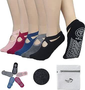 BIOAUM 6 双装女士防滑瑜伽袜,防滑袜适用于普拉提、Barre、舞蹈、瑜伽袜带抓地力芭蕾舞袜,均码