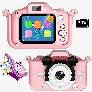VJIANGER 儿童自拍相机适合男孩,2000 万像素数码视频双摄像机,2.0 英寸屏幕,适合幼儿,圣诞生日便携式玩具相机礼物,适合 3-9 岁儿童 32GB TF 卡(粉色)