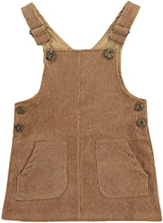 Aixin Kid 幼儿女婴秋季服装吊带背带背带背带背带连衣裙灯芯绒背带口袋背带裙 0M-3Y