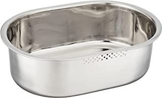 PEARL METAL 珍珠金属 细长 椭圆形 洗桶 34×23厘米 不锈钢制 Atta Aqua HB-4147 银色