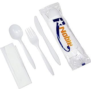 R Noble 80/160 塑料银色餐具套装,带餐巾,单独包装,一次性银色餐具套装,餐具套装,中等重量,160 张餐巾纸,160 个塑料叉,160 个塑料勺,160 个塑料刀 白色