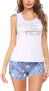 Ekouaer 女式睡衣套装无袖背心和短裤睡衣套装 可爱印花睡衣