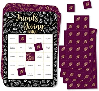 Big Dot of Happiness Elegant Thankful for Friends - Bingo 卡片和马克笔 - 朋友感恩节派对宾戈游戏 - 18 件套