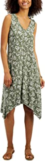Style & Co. 印花手帕下摆连衣裙,橄榄色,L 码