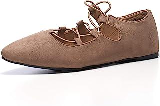 Alpine Swiss Elena 女式尖头芭蕾平底鞋 系带一脚蹬平底鞋