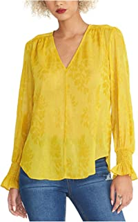Rachel Roy 女式黄色长袖 V 领上衣尺码 M