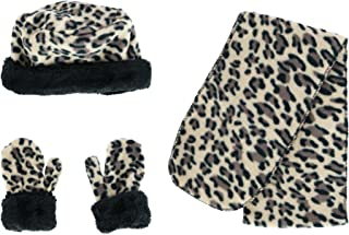 Nollia CTM 幼儿女孩 2-5 羊毛豹纹无檐*帽围巾和手套套装