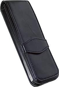 ONLINE 经典皮革盒 适用于 3 支笔 圆珠笔盒 适用于各类品牌的书写工具 真皮材质 适合各种场合的送礼佳品 14.5 × 5 × 2.5 厘米 黑色 3 支笔