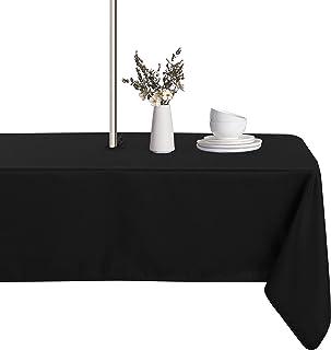 LUSHVIDA 户外桌布带雨伞孔和拉链矩形,长方形桌布适用于春夏天庭院花园桌面装饰,黑色,60 X 120 英寸
