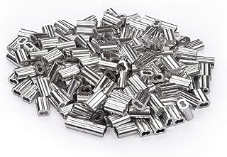 SHONAN 铝制电缆套 适用于 1/16 英寸(约 0.6 厘米)不锈钢线 200 个装 双管线套圈 压接环套