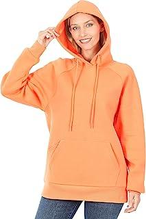 女式落肩宽松羊毛套头连帽运动衫,带前袋