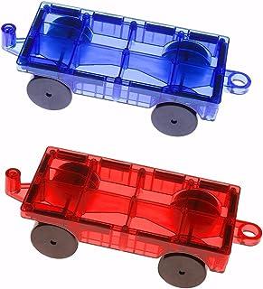 Mag-Genius Magnet Tiles Car Set 2 Pieces Magnet Car Truck Train Magnet Building tile Magnet Toy Add On Red & Blue