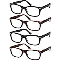 老花镜 4 件套黑色优质老花弹簧铰链眼镜男女通用