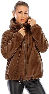 kooosin 女式长袖女式连帽保暖冬季貂皮人造毛皮外套夹克外套带口袋......