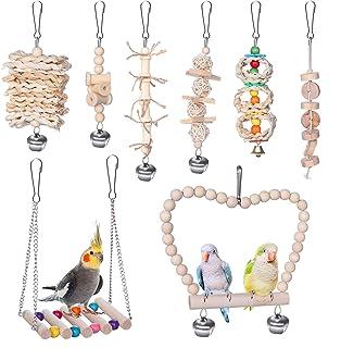 8 件装鸟秋千咀嚼玩具,鹦鹉玩具鸟笼玩具套装吊床铃摇摆梯子鲈鱼咀嚼玩具,适合小鸟