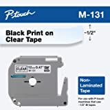 Brother 兄弟 正品 P-Touch M-131 胶带 1.2 厘米(0.4 英寸)标准 P-touch 胶带 黑…