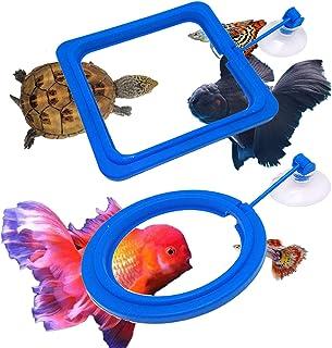 鱼喂食环,ABS 材料浮动食物喂食器,水族箱鱼缸鱼粮喂食圈,适合孔雀鱼、金鱼和乌龟(方形和圆形)(普通)