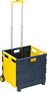 Honey-Can-Do CRT-03622 Folding Utility Cart, Collapsible Design, Blue/Yellow