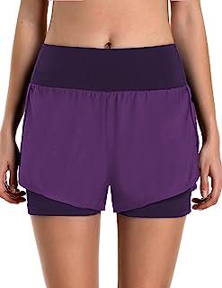 COOrun 女士跑步短裤 2 合 1 健身运动健身瑜伽短裤网眼外层衬里带拉链口袋 S-XXL