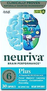NEURIVA Plus 营养补充剂,一瓶30粒,加入上B6,B12和叶酸