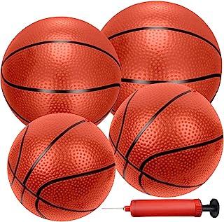 Liberty Imports 4 件充气迷你篮球玩具替换橡胶球,带泵和针头,适用于室内玩具微型篮球或运动训练(混合)