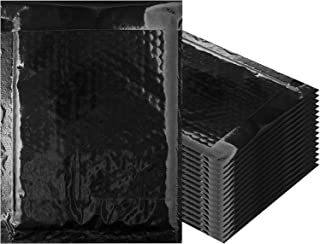 Amiff 泡泡信封 9.5 x 13.5 加垫信封 9 1/2 x 13 1/2 10 个黑色靠垫信封即剥即贴密封万圣节邮递、运输、包装