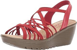 Skechers 斯凯奇女式平跟交叉线条多楔形露跟凉鞋