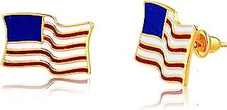 Carol Jewelry 14k 纯黄金珐琅美国国旗推背耳钉爱国者礼物
