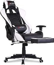 EDWELL 游戏椅 办公椅 带脚踏板 高背电脑游戏椅 赛车风格 符合人体工程学 PU 皮革办公椅 带头枕和按摩腰背支撑 黑色/白色