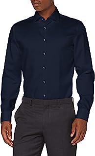 Seidensticker 男士修身長袖單色斜紋免熨燙經典襯衫