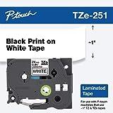 Brother 兄弟 P-touch ~1 英寸(2.4 厘米),TZe251 黑色白色标准层压胶带 - 20 英尺(8…