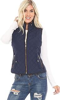 YourStyle USA 女式加垫背心 - 休闲立领轻质全拉链绗缝麂皮细节马甲夹克