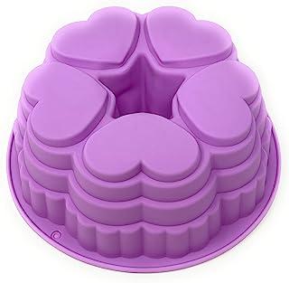 硅胶心形捆绑平底锅:不粘圆形蛋糕果冻模具适用于情人节或周年纪念派对 9 英寸(约 22.9 厘米)多色可选