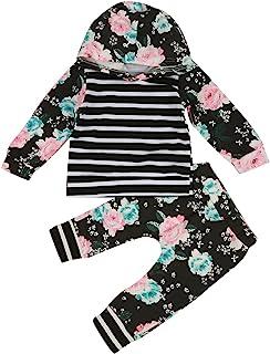 1-5Y 婴幼儿女孩花卉条纹连帽衬衫上衣和裤子套装