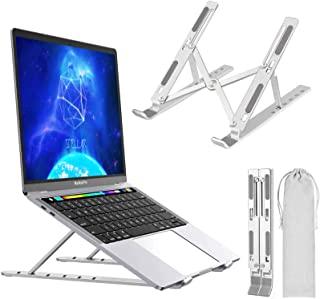 笔记本电脑支架,可调节便携式笔记本电脑支架,铝合金台式支架兼容 10-15.6 英寸 MacBook PC-笔记本平板电脑 Thinkpad (银色)
