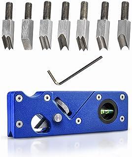 便携式倒角飞机,带 7 种刀头手动刨床木刨床木工刨床边角平整工具,用于快速修剪和倒角(蓝色)