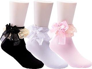 女童可爱蕾丝褶皱公主风格棉袜(3 件装)1M-14T