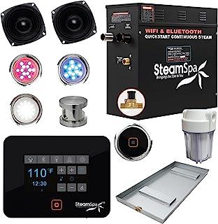 SteamSpa Raven 系列 Wifi 和蓝牙 9kW 快速启动蒸汽发生器套装,拉丝镍 | 触摸屏 WIFI 应用程序控制蒸汽淋浴套件,带排水锅扬声器和过滤器套件 | RVB900BN-A-F